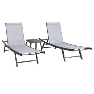 Komplekt ARIO laud ja 2 lamamistooli
